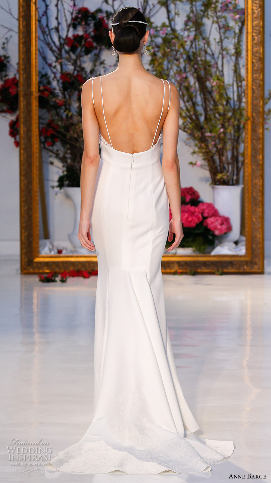 anne barge spring 2017 bridal sleeveless spagetti strap deep sweetheart neckline embellished bodice simple elegant sheath wedding dress low back sweep train (012) bv
