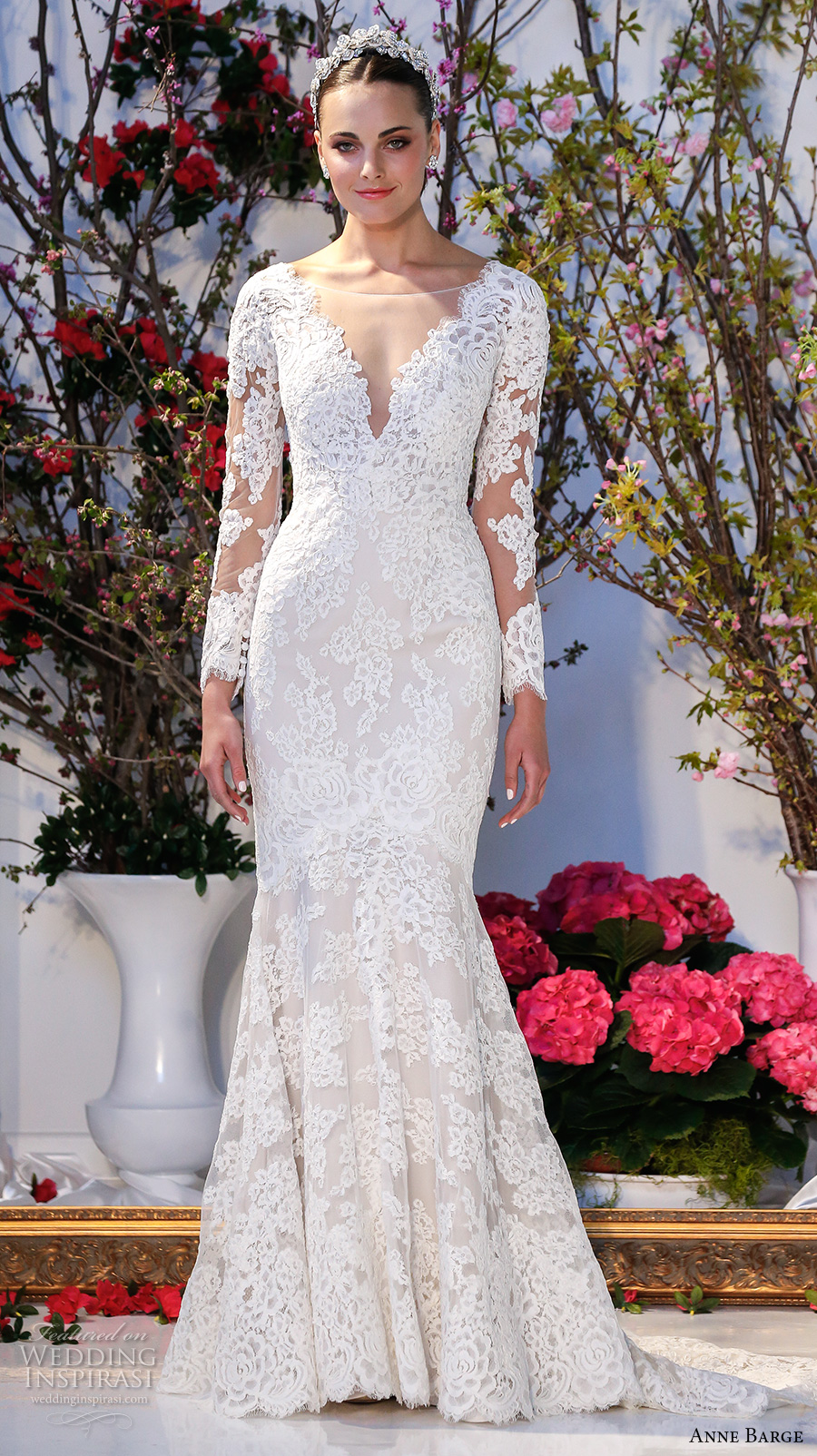 anne barge spring 2017 bridal embroidered lace long sleeves deep v neck line fully embellished beautiful lace mermaid wedding dress v back sweep train (014) mv
