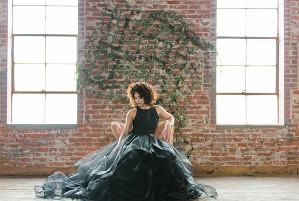 black wedding dress - photo by Jessica Cooper Photography http://ruffledblog.com/sweet-caroline-bridal-collection