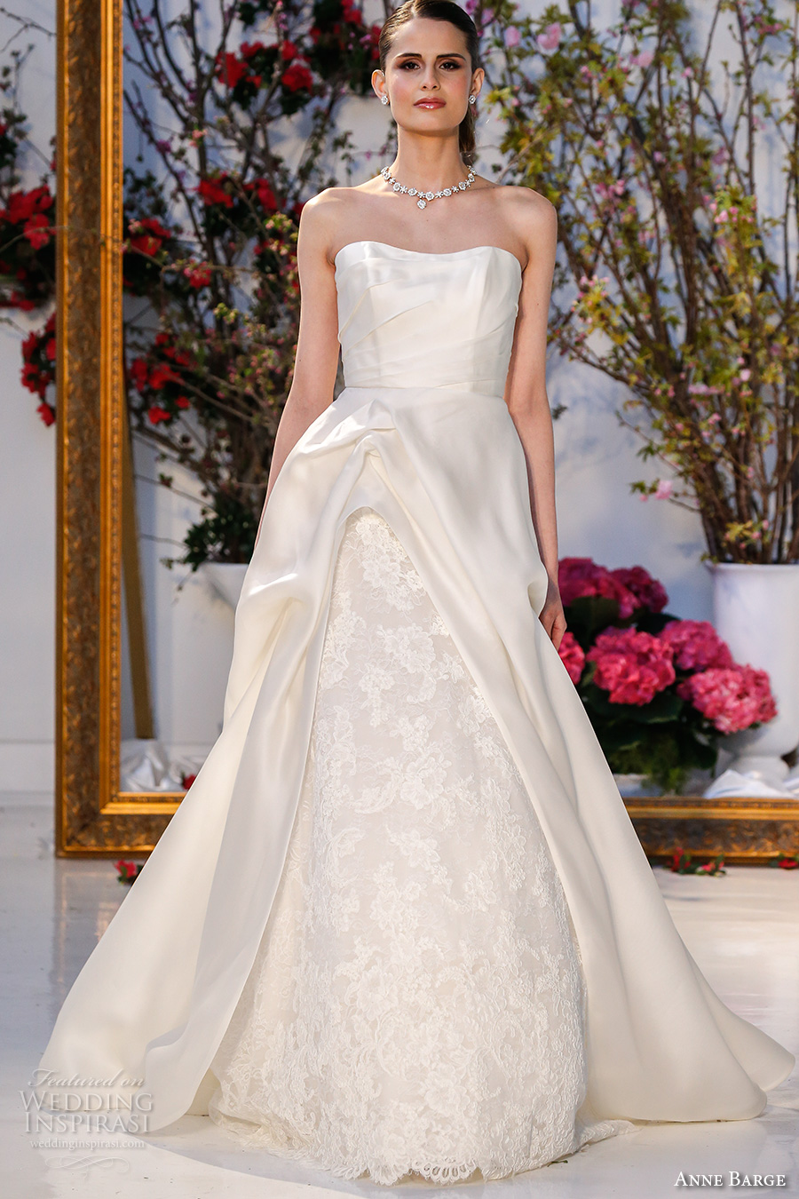 anne barge spring 2017 bridal sleevless strapless semi sweetheart neckline beautiful a line gathered wedding dress chapel train (003) mv