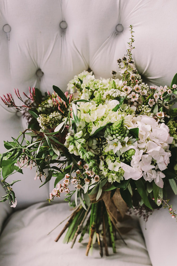 soft bridal bouquet - photo by Lara Hotz Photography http://ruffledblog.com/botanical-australian-barn-wedding
