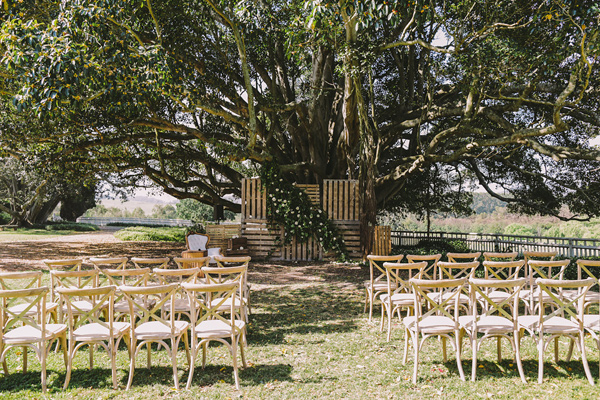 wedding ceremony setup - photo by Lara Hotz Photography http://ruffledblog.com/botanical-australian-barn-wedding