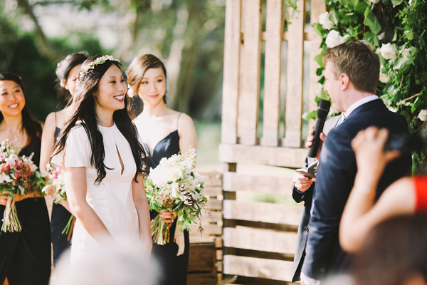 wedding ceremony - photo by Lara Hotz Photography http://ruffledblog.com/botanical-australian-barn-wedding