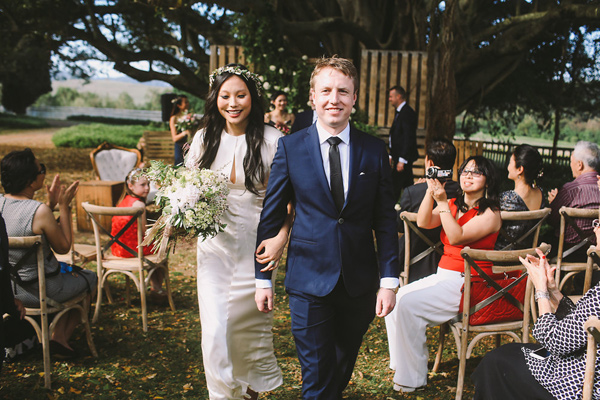 ceremony recessional - photo by Lara Hotz Photography http://ruffledblog.com/botanical-australian-barn-wedding