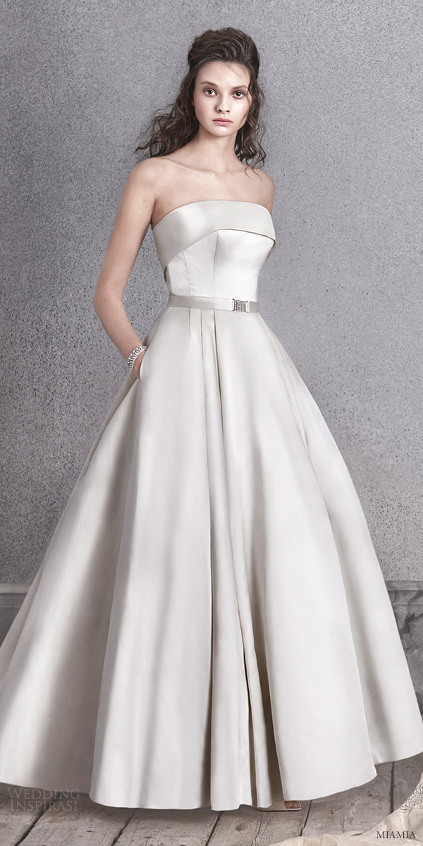 miamia bridal 2016 strapless straight across ball gown satin wedding dress (orla) zv oyster color