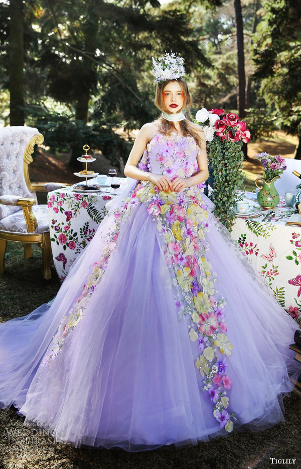 tiglily bridal 2016 strapless sweetheart ball gown wedding dress (viola) mv purple lavender color romantic
