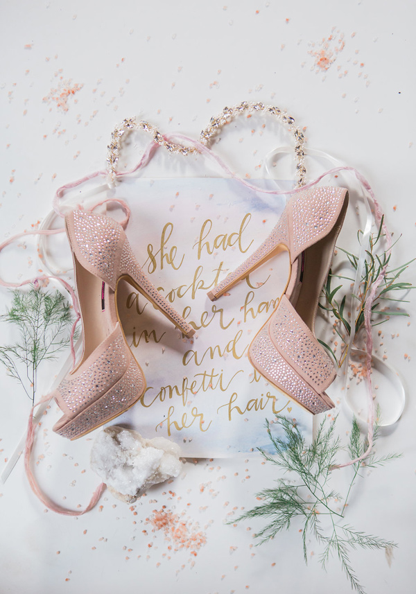 pink wedding shoes - photo by Jessica Cooper Photography http://ruffledblog.com/sweet-caroline-bridal-collection