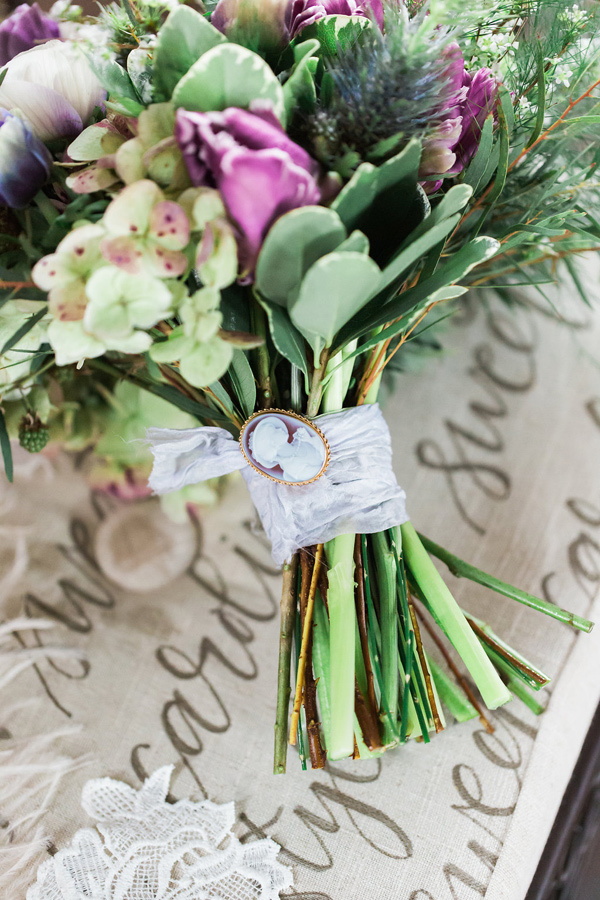 purple and green bouquet - photo by Jessica Cooper Photography http://ruffledblog.com/sweet-caroline-bridal-collection
