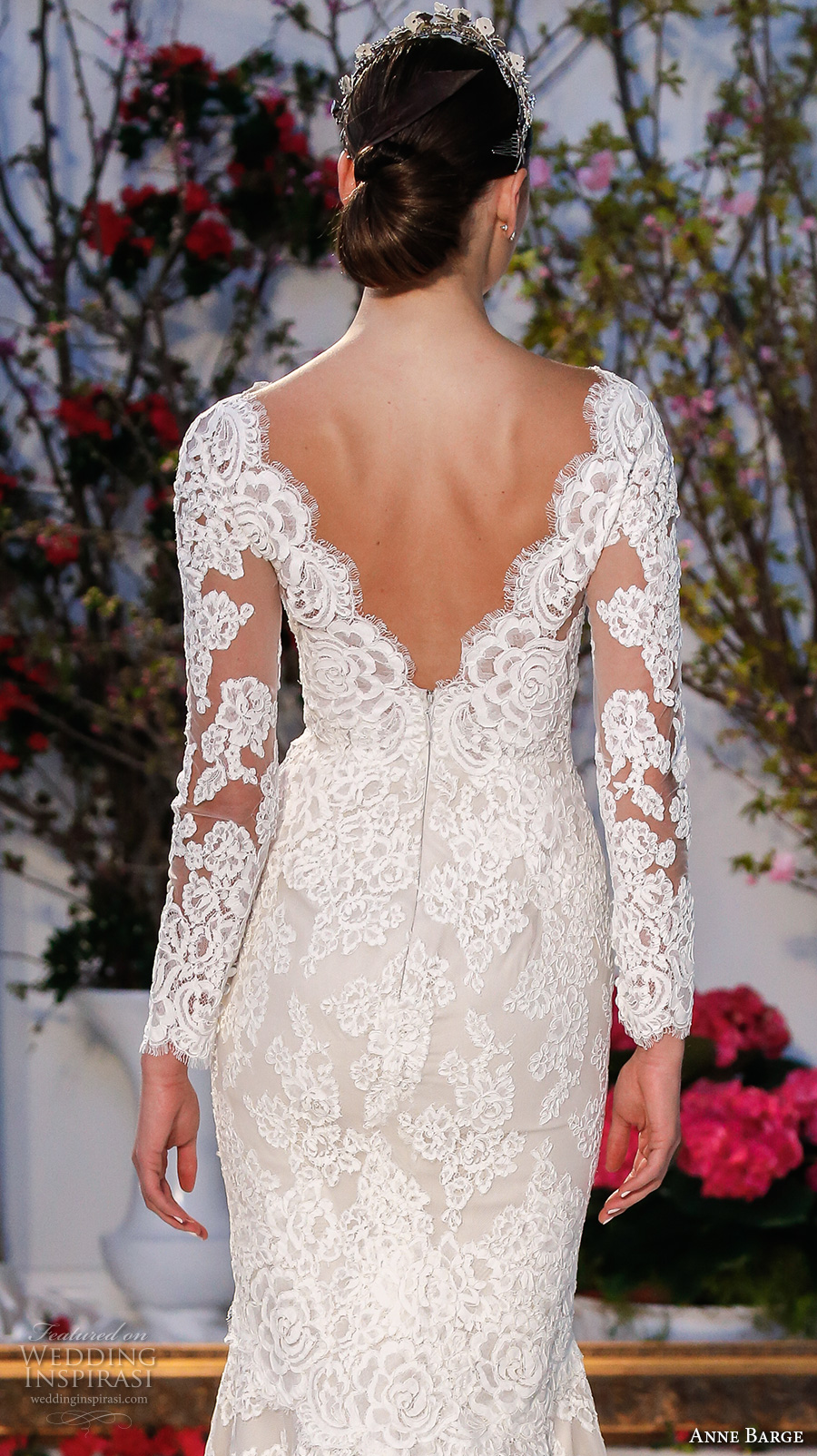 anne barge spring 2017 bridal embroidered lace long sleeves deep v neck line fully embellished beautiful lace mermaid wedding dress v back sweep train (014) zbv