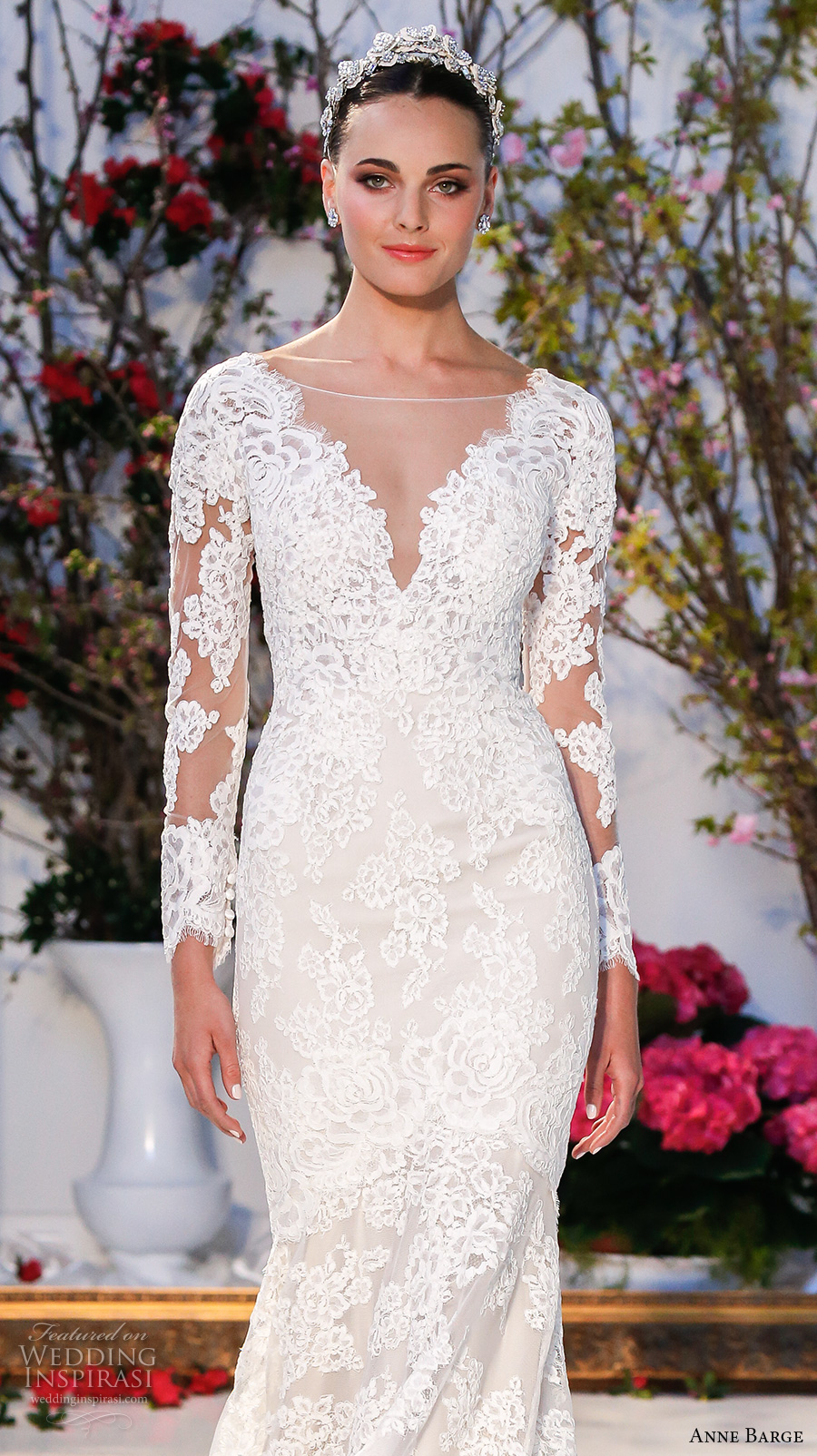 anne barge spring 2017 bridal embroidered lace long sleeves deep v neck line fully embellished beautiful lace mermaid wedding dress v back sweep train (014) zv