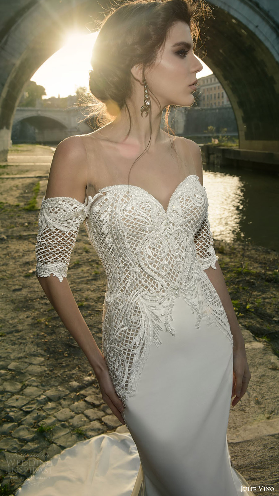 julie vino bridal spring 2017 half sleeves off shoulder sweetheart trumpet (cassia) zv bodice train