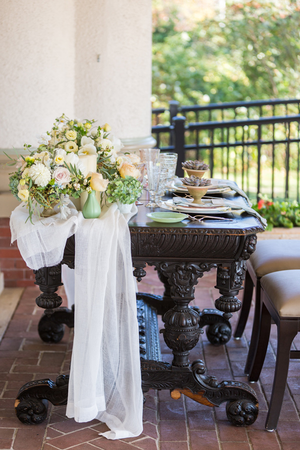 reception table side view - photo by McCoy Made Photography http://ruffledblog.com/mackinac-island-wedding-inspiration