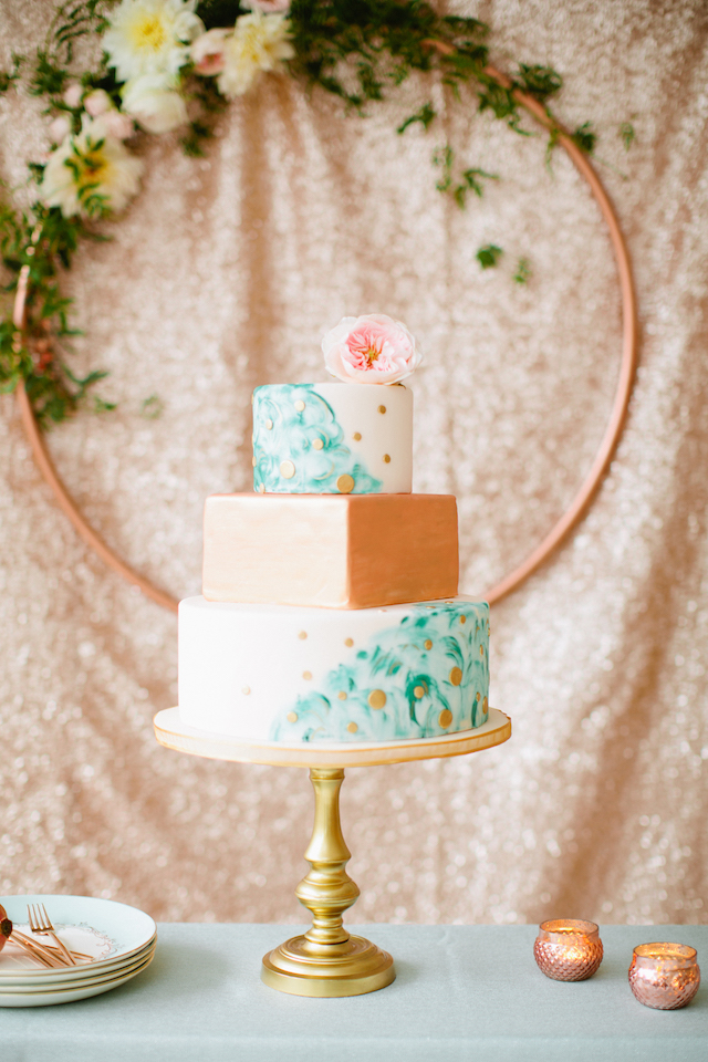 Mint and rose gold wedding cake with a sequins backdrop | Betsi Ewing Photography | @AisleSociety and @Minted | #aislesociety #MintedWeddings #ASforMinted #styledbyaislesociety