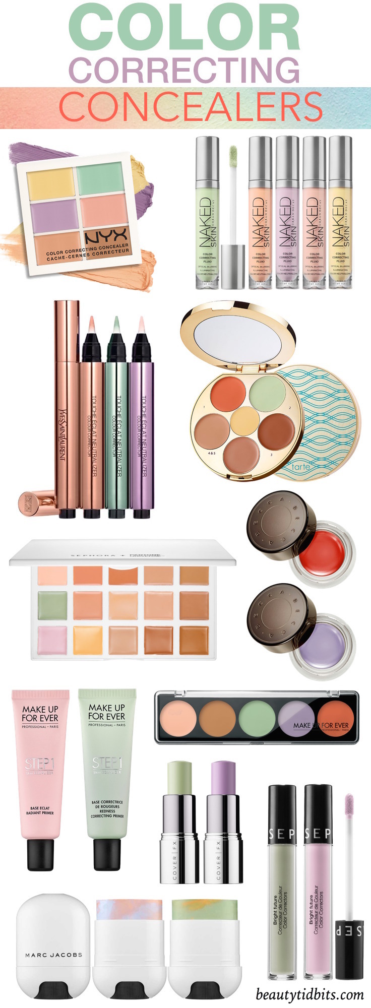 Looking for the best color correcting makeup for your dark circles, dark spots or redness? These easy-to-use color correcting concealers can cover up anything from acne or rosacea to the darkest under-eye circles! Click through to get your Color Correcting Cheat Sheet!!