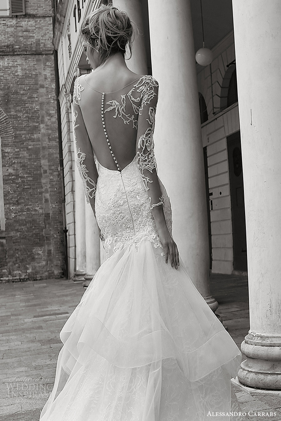 alessandro carrabs couture bridal 2016 illusion long sleeves sweetheeart fit flare mermaid wedding dress (014) zbv sheer back train