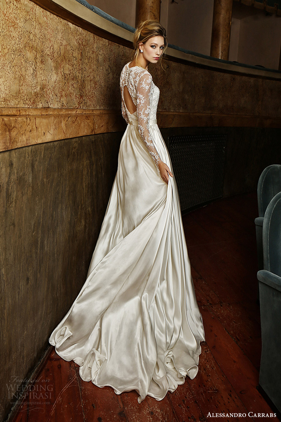 alessandro carrabs couture bridal 2016 long sleeves sweetheart illusion jewel neck a line wedding dress (019) bv keyhole