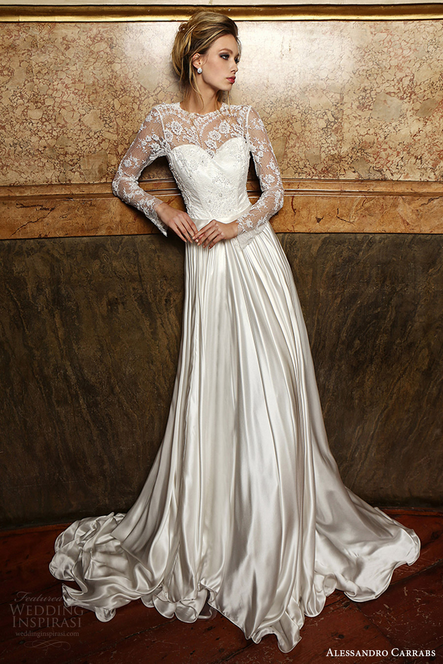 alessandro carrabs couture bridal 2016 long sleeves sweetheart illusion jewel neck a line wedding dress (019) mv