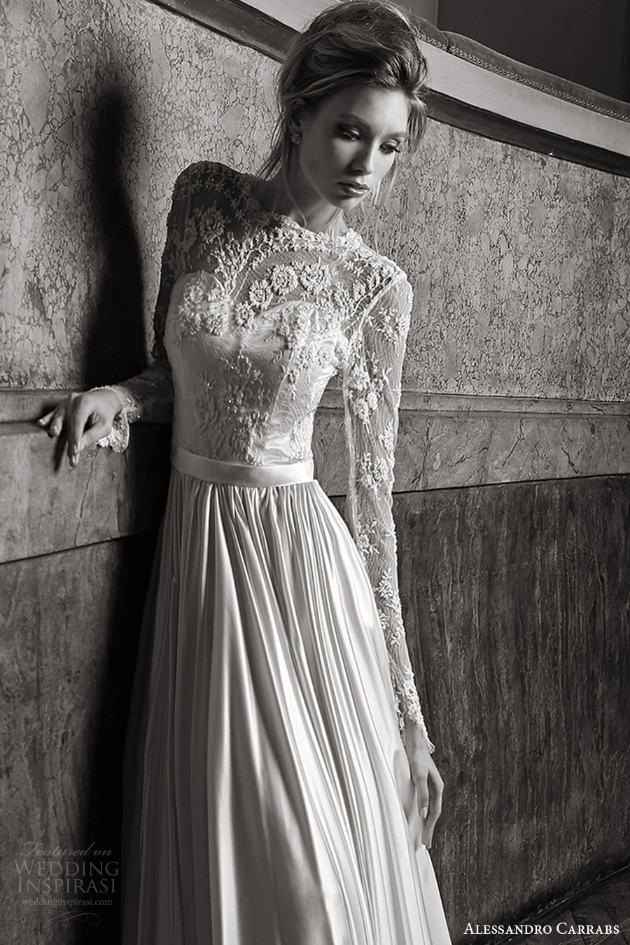 alessandro carrabs couture bridal 2016 long sleeves sweetheart illusion jewel neck a line wedding dress (019) zv
