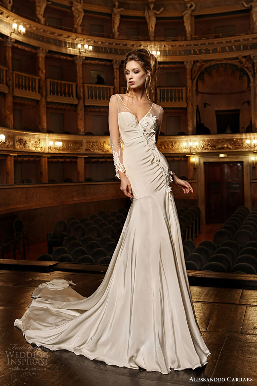 alessandro carrabs couture bridal 2016 long sleeves sweetheart illusion vneck fit flare wedding dress (002) mv sheer back