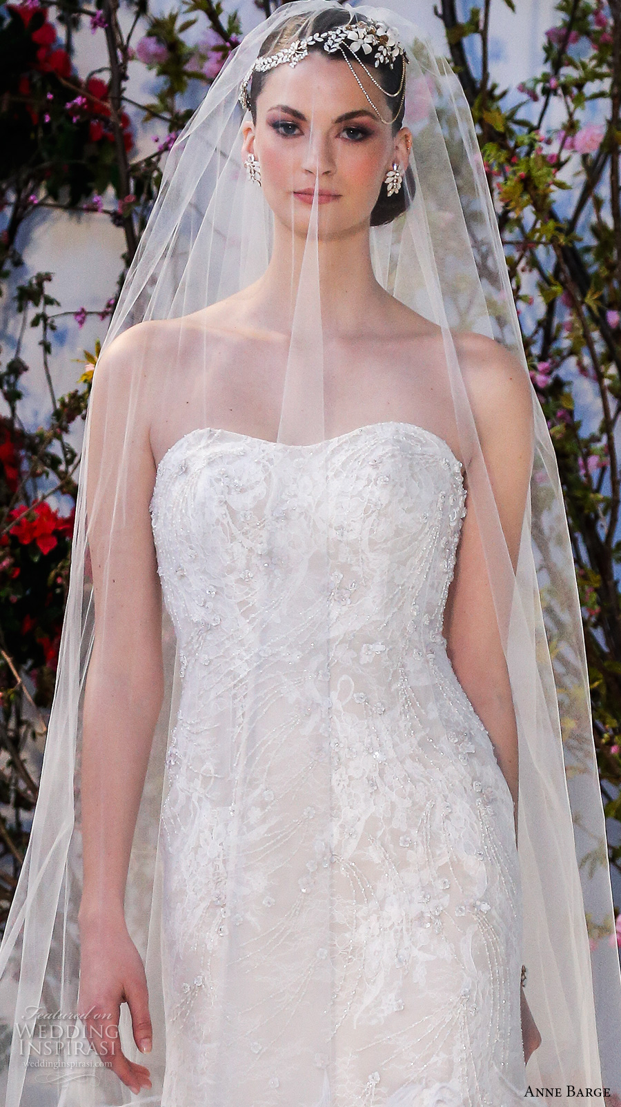 anne barge spring 2017 bridal strapless semi sweetheart neckline fully embellished modified a line wedding dress cathedral train (027) zv