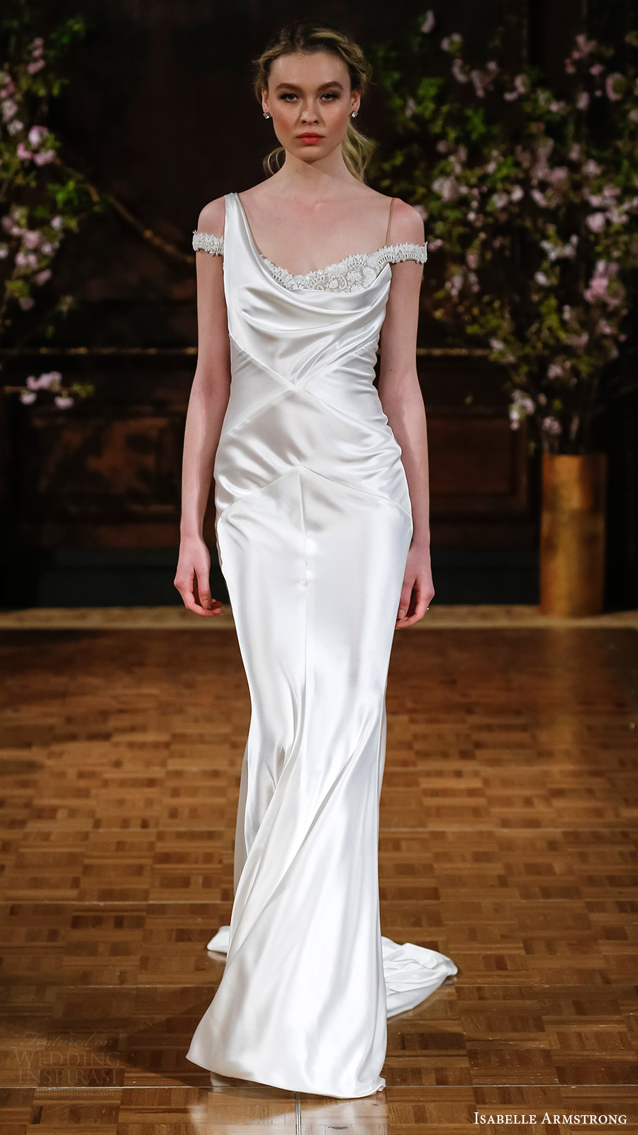 isabelle armstrong bridal spring 2017 asymmetric shoulder cowl neck sheath wedding dress (ricki) mv elegant