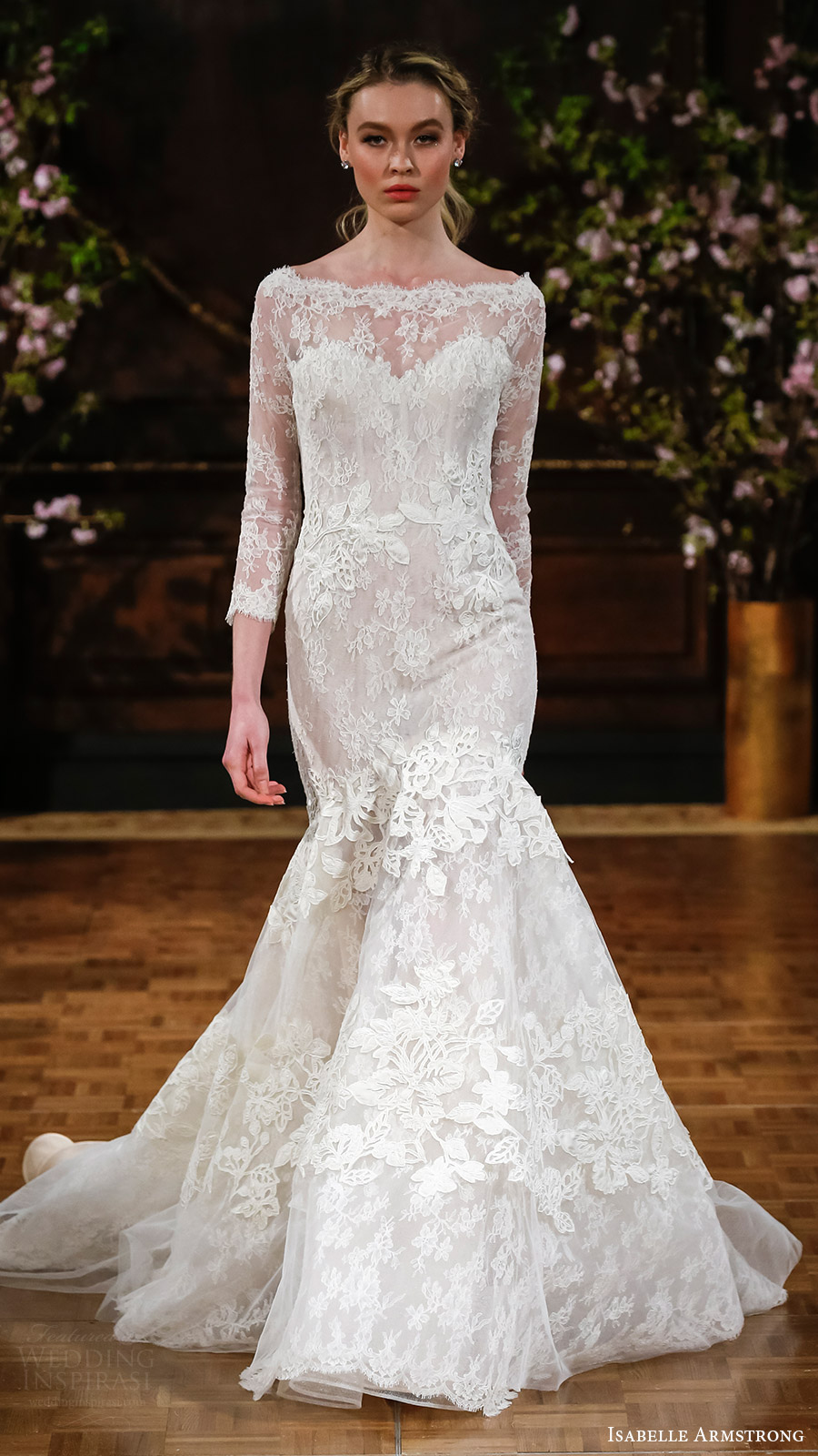isabelle armstrong bridal spring 2017 illusion long sleeves bateau neck mermaid lace wedding dress (brooke) mv elegant romantic
