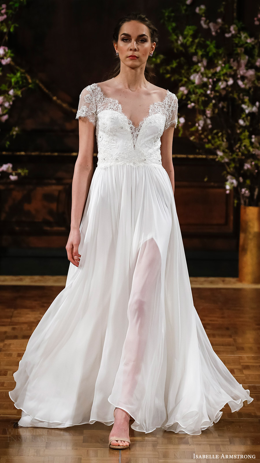 isabelle armstrong bridal spring 2017 illusion short sleeves sweetheart aline wedding dress (kaitlyn) mv slit skirt