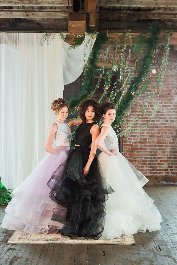 colored wedding dresses - photo by Jessica Cooper Photography http://ruffledblog.com/sweet-caroline-bridal-collection