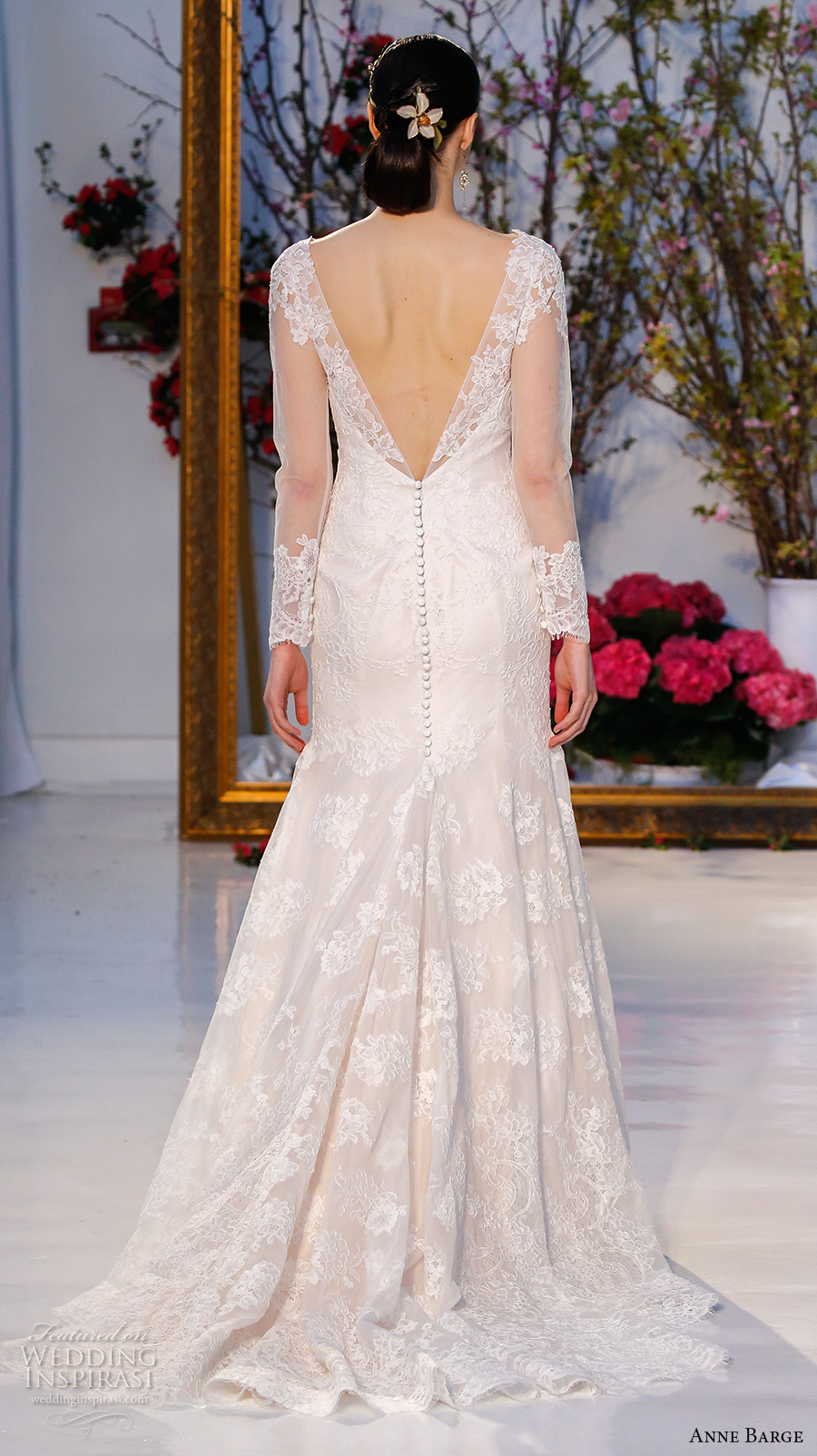 anne barge spring 2017 bridal sheer lace long sleeves v neck fully embellished beautiful lace trumpet wedding dress v back chapel train (018) bv
