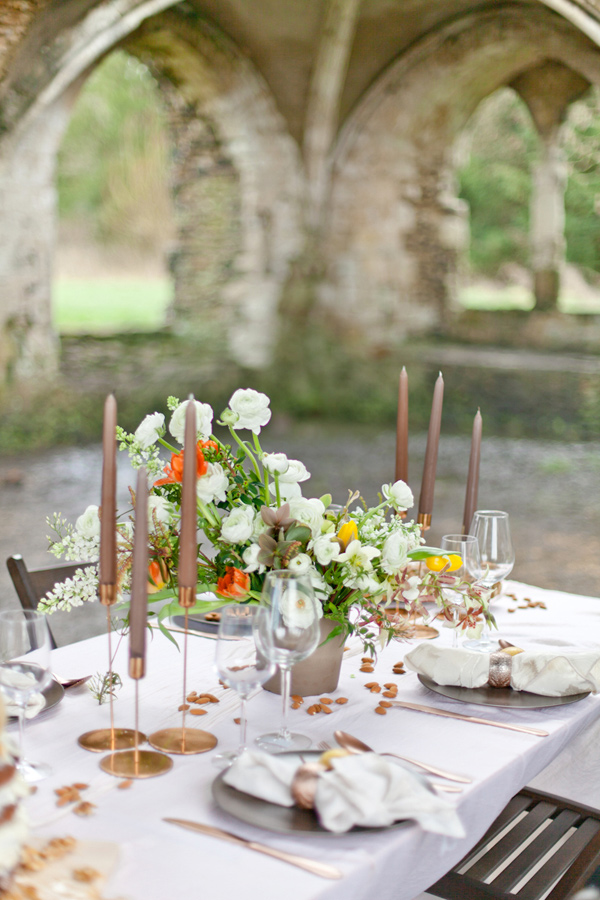 organic tablescape - photo by Corette Faux Photography http://ruffledblog.com/eleventh-century-abbey-wedding