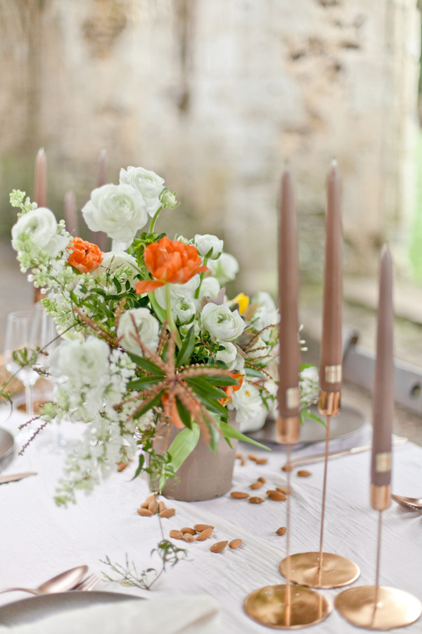 organic centerpiece - photo by Corette Faux Photography http://ruffledblog.com/eleventh-century-abbey-wedding