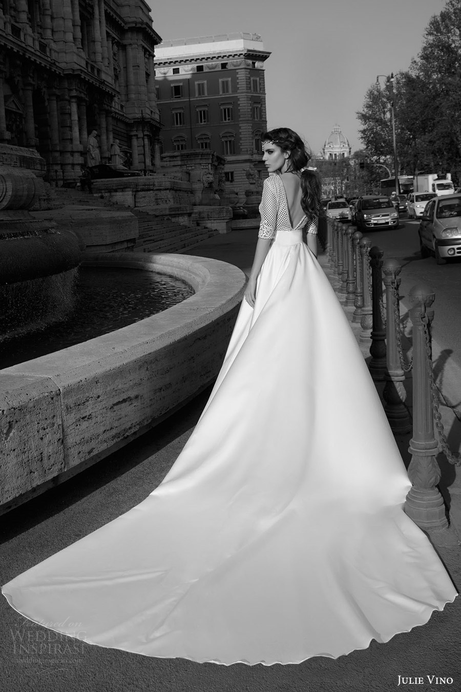 julie vino bridal spring 2017 half sleeves jewel neck sheath wedding dress (prisilla) bv elegant aline overskirt