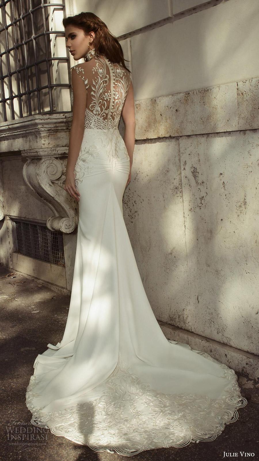julie vino bridal spring 2017 sleeveless sweetheart illusion high neck sheath wedding dress (octavia) bv sheer back train