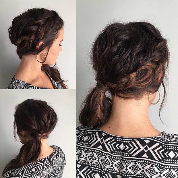 Braid into a Side Ponytail Prom Hairstyle