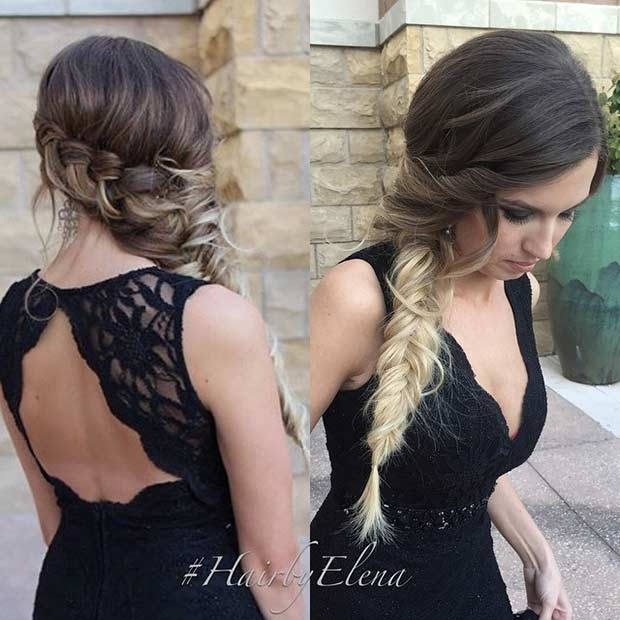 Fishtail Braid to the Side Hairstyle
