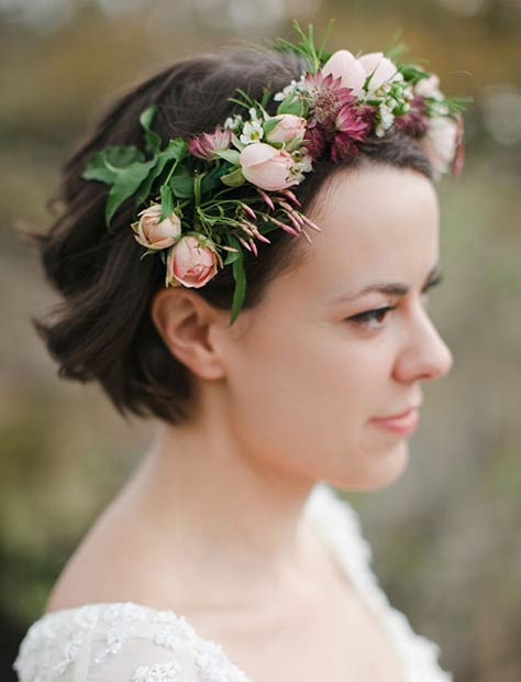 Short Wedding Hairstyle with Flower Crown
