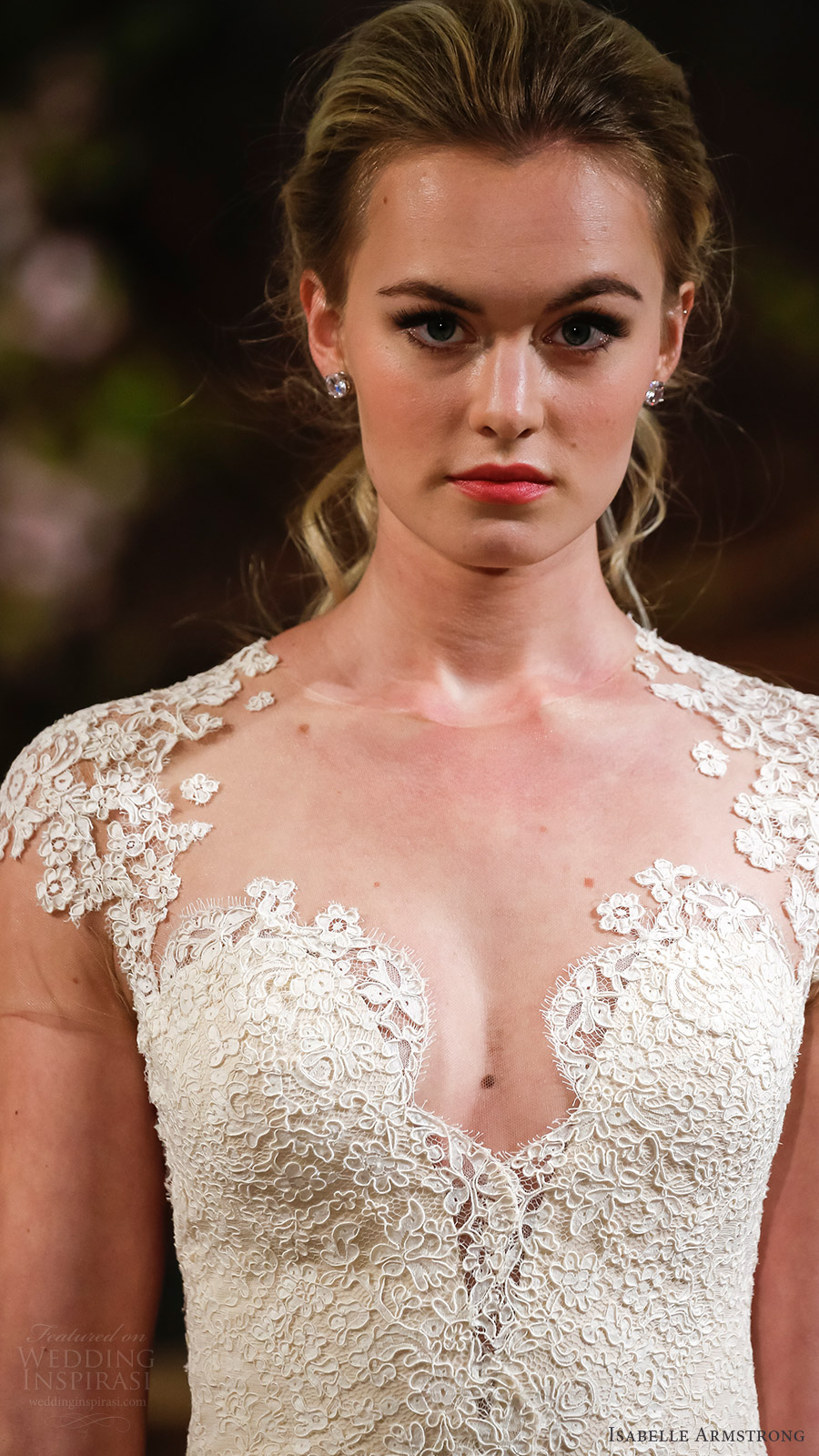isabelle armstrong bridal spring 2017 cap sleeves sweertheart fit flare wedding dress (toni) zv romantic elegant