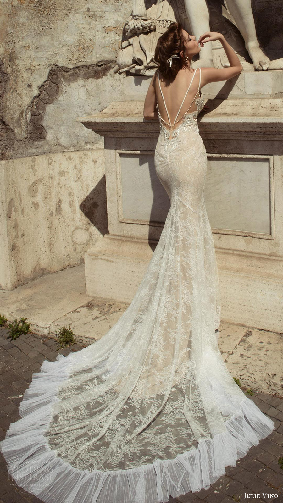 julie vino bridal spring 2017 sleeveless double straps sweetheart mermaid lace wedding dress (augusta) bv pockets low back train