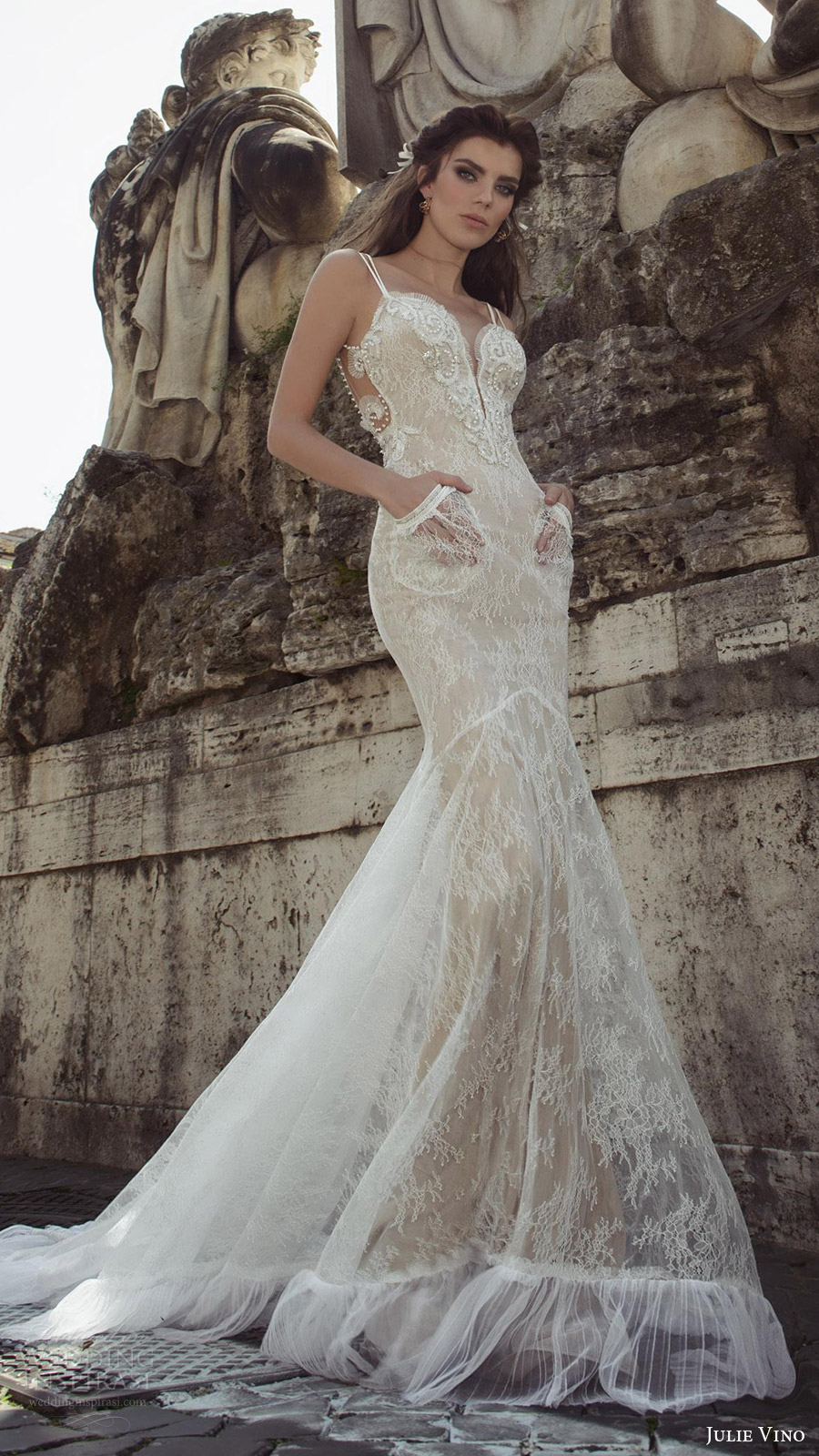 julie vino bridal spring 2017 sleeveless double straps sweetheart mermaid lace wedding dress (augusta) mv pockets