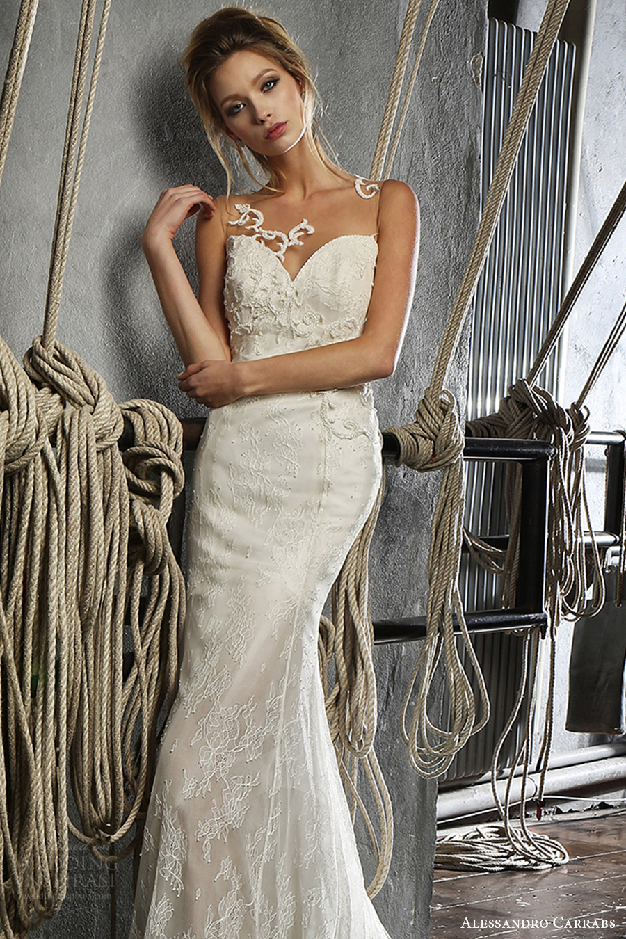 alessandro carrabs couture bridal 2016 sleeveless lace trumpet wedding dress (012) mv sheer back