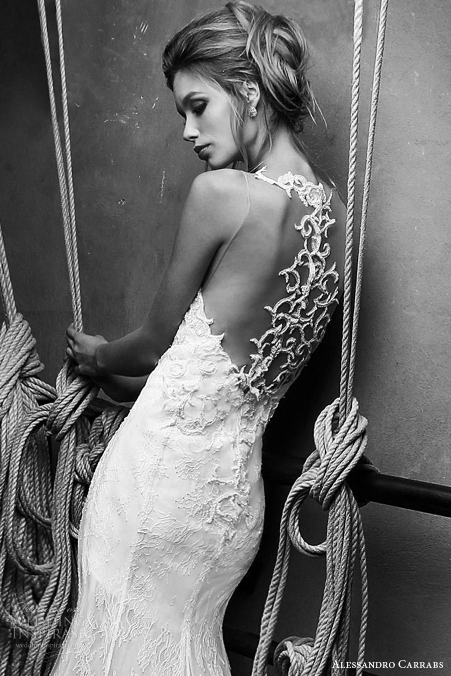 alessandro carrabs couture bridal 2016 sleeveless lace trumpet wedding dress (012) zbv sheer back