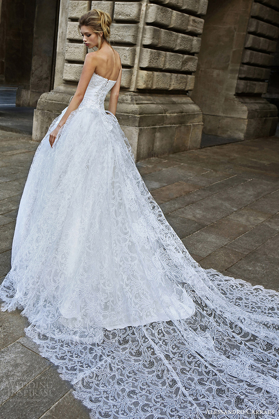 alessandro carrabs couture bridal 2016 strapless sweetheart ball gown lace wedding dress (018) bv romantic long train