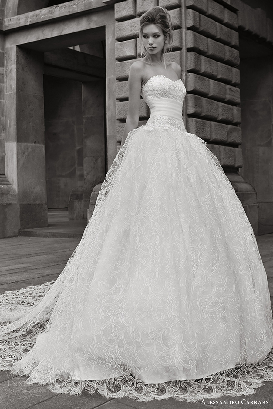 alessandro carrabs couture bridal 2016 strapless sweetheart ball gown lace wedding dress (018) mv romantic