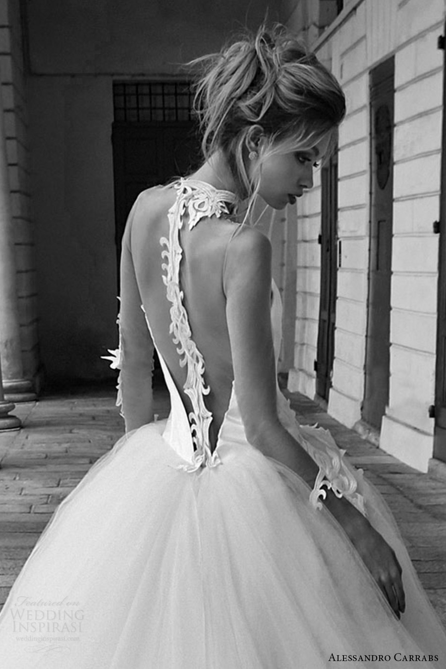 alessandro carrabs couture bridal 2016 illusion long sleeves sweetheart collar ball gown wedding dress (020) zbv low back romantic long train