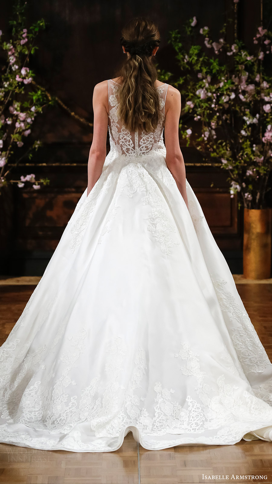 isabelle armstrong bridal spring 2017 sleeveless illusion bateau neck ball gown wedding dress (robyn) bv sheer back train romantic