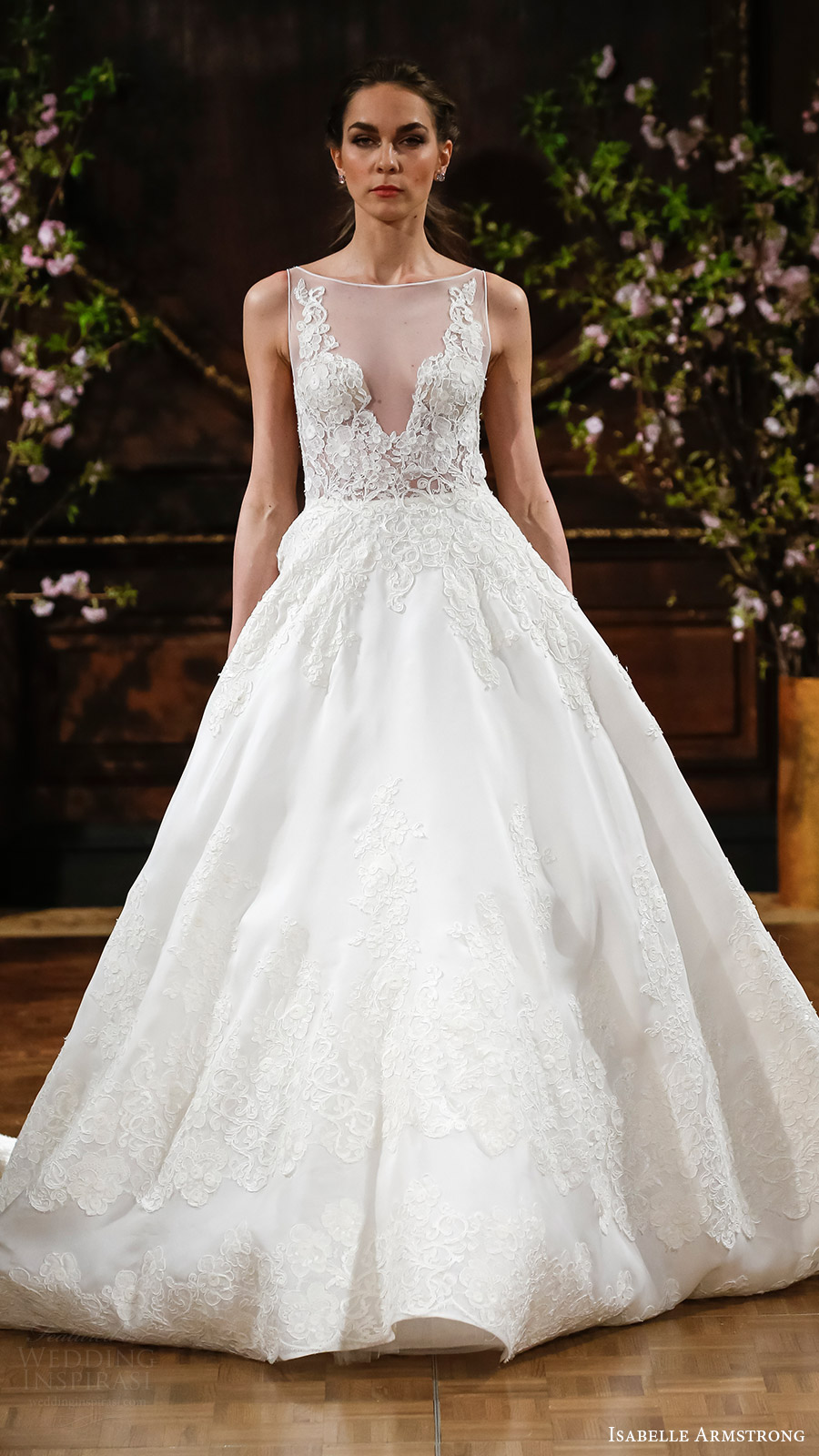 isabelle armstrong bridal spring 2017 sleeveless illusion bateau neck ball gown wedding dress (robyn) mv romantic