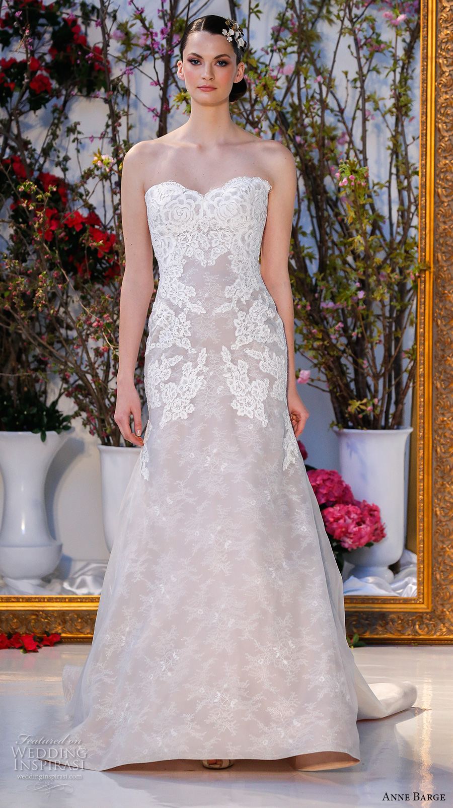 anne barge spring 2017 bridal strapless sweetheart neckline lace embellished bodice beautiful elegant fit to flare wedding dress chapel train (017) mv