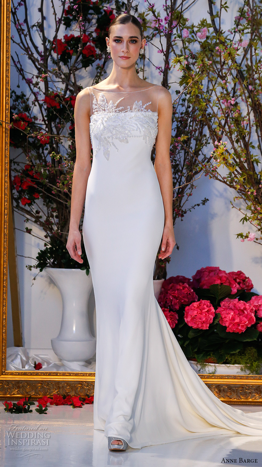 anne barge spring 2017 bridal sleeveless illusion boat straigh across embellished neckline simple chic elegant sheath wedding dress low v back sweep train (022) mv