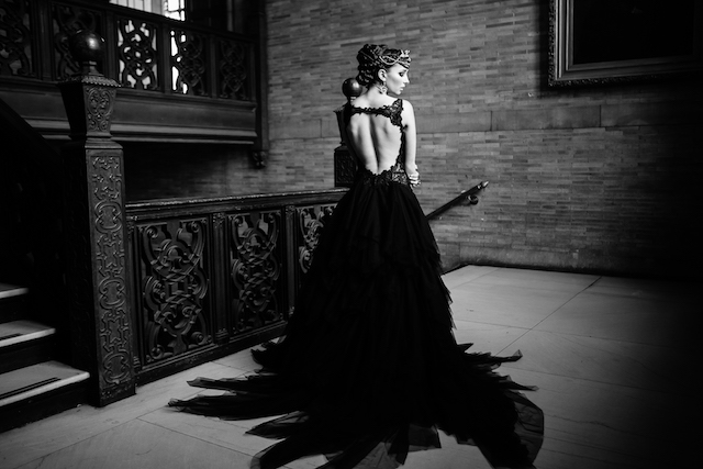 Black tulle and lace Winne Couture wedding dress | Syed Yaqeen and Roadshow Wedding