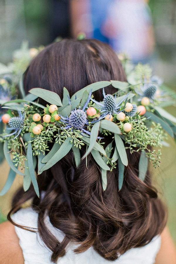 thistle and eucalyptus flower crown - photo by Flora and Fauna http://ruffledblog.com/historic-cree-estate-wedding